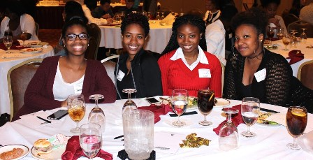Photo of Hawthorne Students. attending the NC Health Professions College Recruitment Seminar