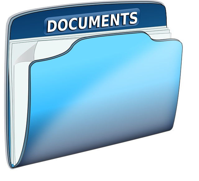Graphic of documents in file folder.