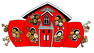 Clipart image of a red schoolhouse bursting with happy smilling faces