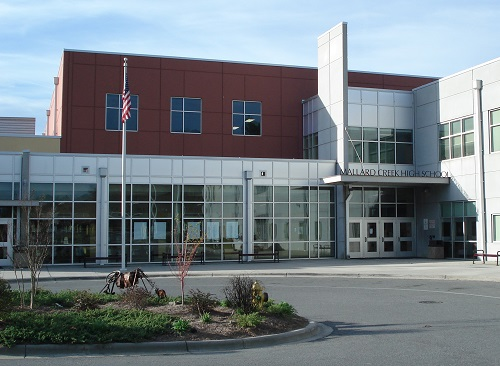 Photo of the front of Mallard Creek High School