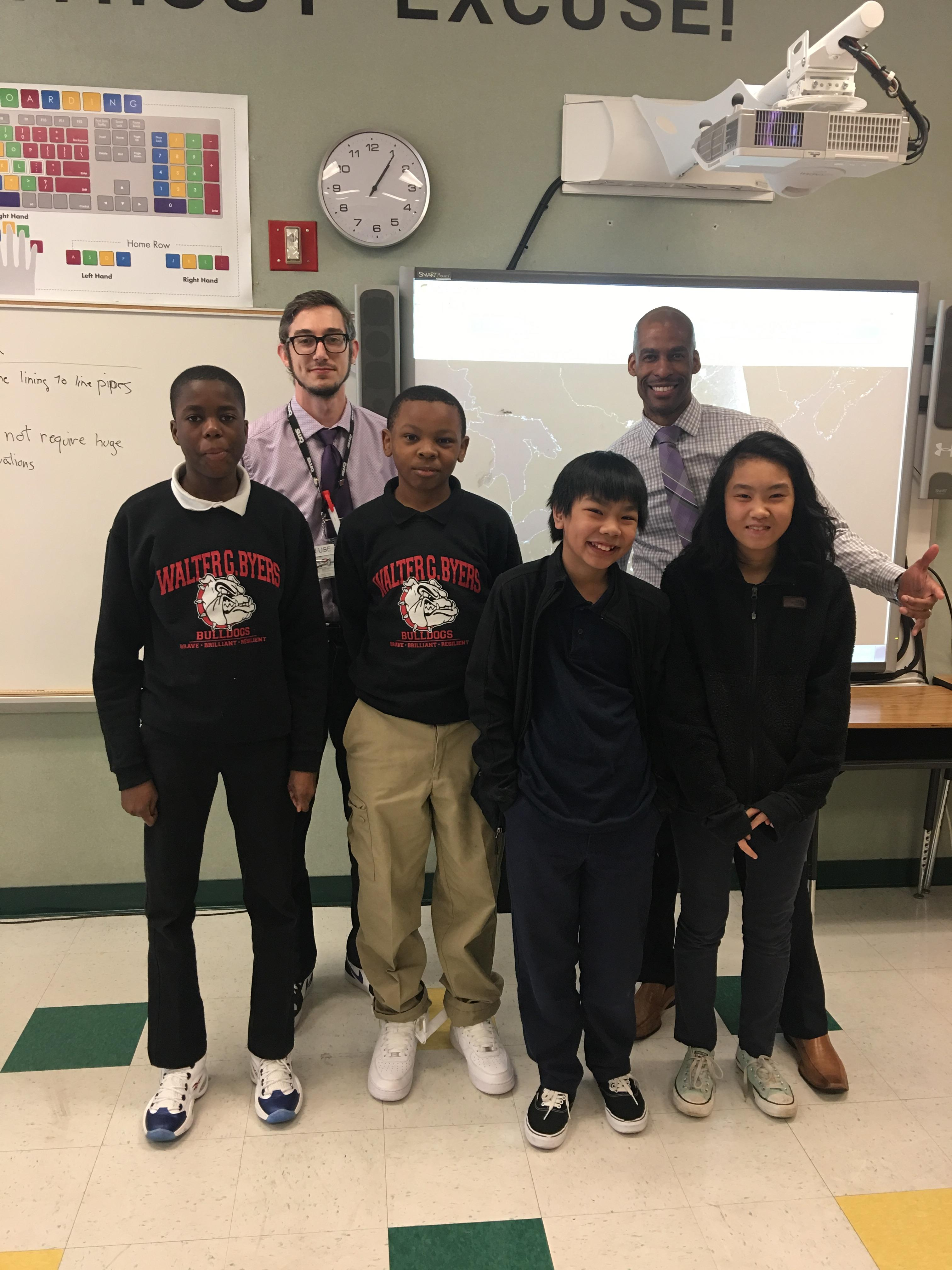Mr. Suffren and Mr. Dailey celebrating SFA achievement with Kodjo, Clayton, Tien, and Hanna.JPG